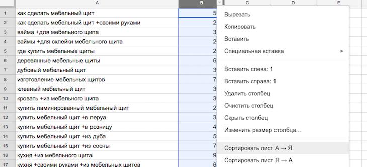 Яндекс Вордстат - сортируем ключевики