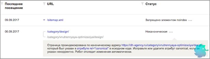Вебмастер - страница проиндексирована по каноническому адресу