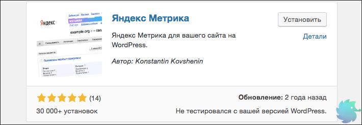 Плагин для установки Яндекс Метрики на WordPress