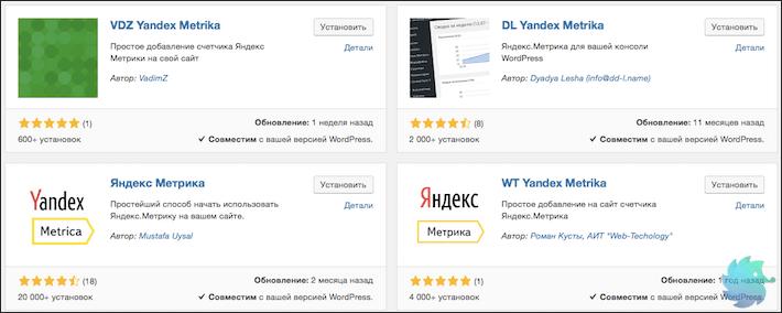 Различные плагины для установки Яндекс Метрики на WordPress