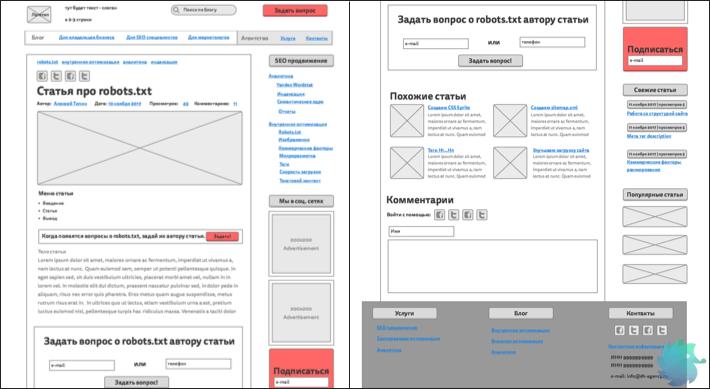 правильное прототипирование страницы с точки зрения SEO.